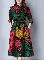 Band-Collar-Slit-Pocket-Fantastic-Printed-Skater-Dress