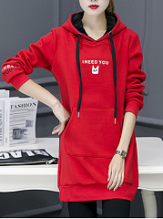 Hooded  Cartoon Letters Midi Shift Dress