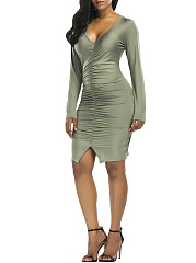 Deep V-Neck Ruched Plain Slit Bodycon Dress
