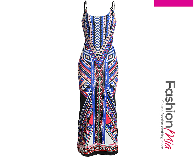 length:ankle-length, sleeve:sleeveless, material:polyester, pattern_type:tribal printed, occasion:vacation, dress_silhouette:fitted, more_details:back hole, collar&neckline:spaghetti strap, season:summer, package_included:dress*1, bustwaistlengthhip