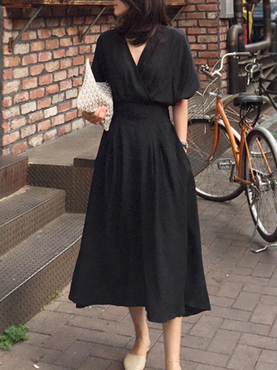 Surplice  Plain Maxi Dress