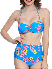 Backless  Printed  High-Rise Bikini For Women