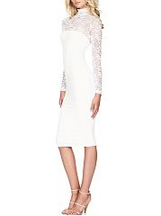 Band Collar  Decorative Lace  Plain  Blend Bodycon Dress
