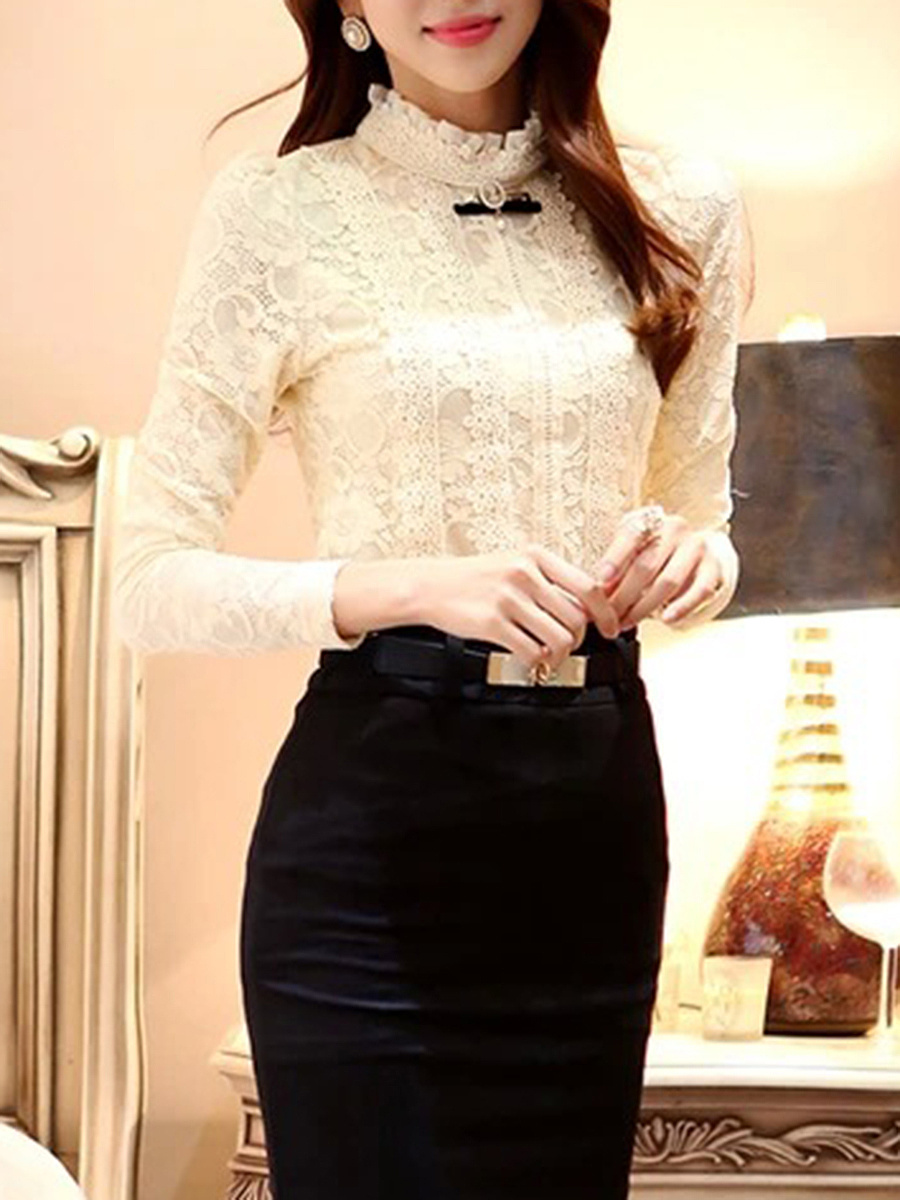 Band Collar  Beading  Lace Plain Long Sleeve T-Shirts