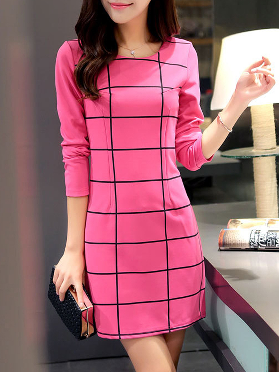 Plaid Round Neck Long Sleeve Bodycon Dress