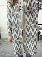 V Neck  Patchwork  Geometric Knit Cardigans