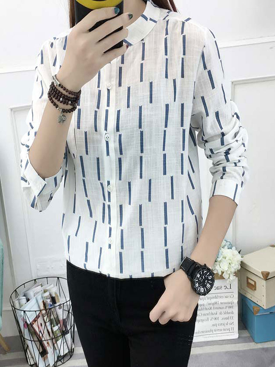 Autumn Spring  Cotton/Linen  Women  Patch Pocket Single Breasted  Striped  Long Sleeve Blouses