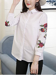 Embroidery Turn Down Collar Long Sleeve T-Shirt