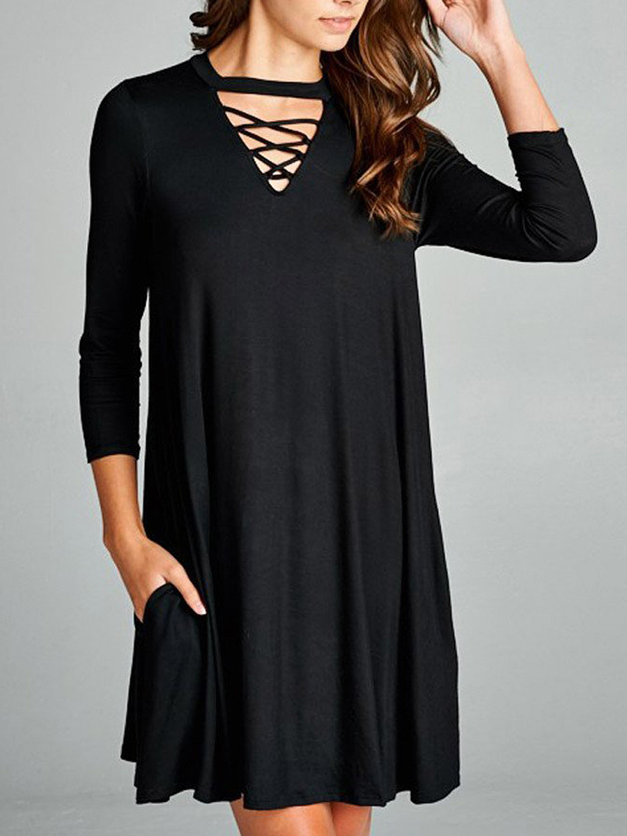 V-Neck Cutout Pocket Plain Shift Dress