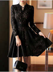 Round Neck  See-Through  Hollow Out Lace Skater Dress