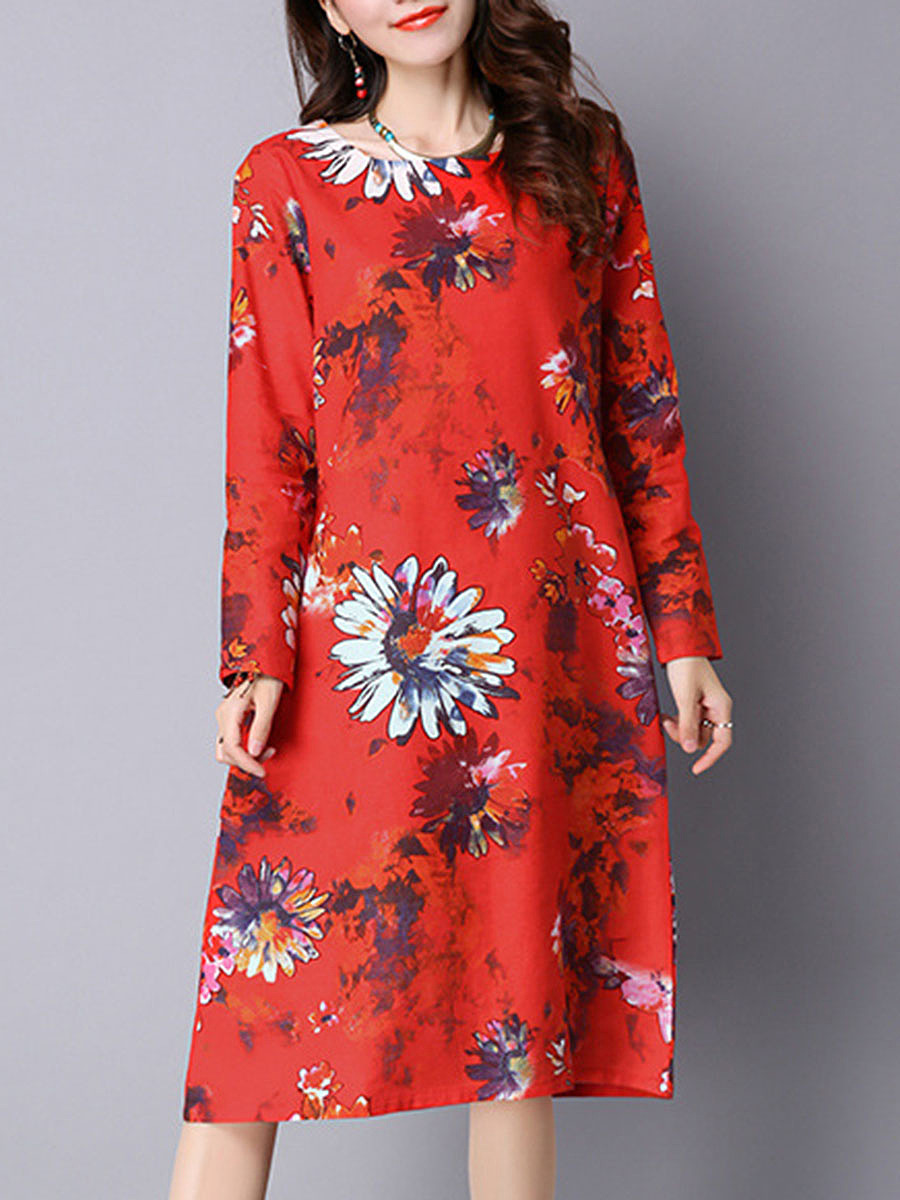 Round Neck Pocket Floral Printed Midi Shift Dress