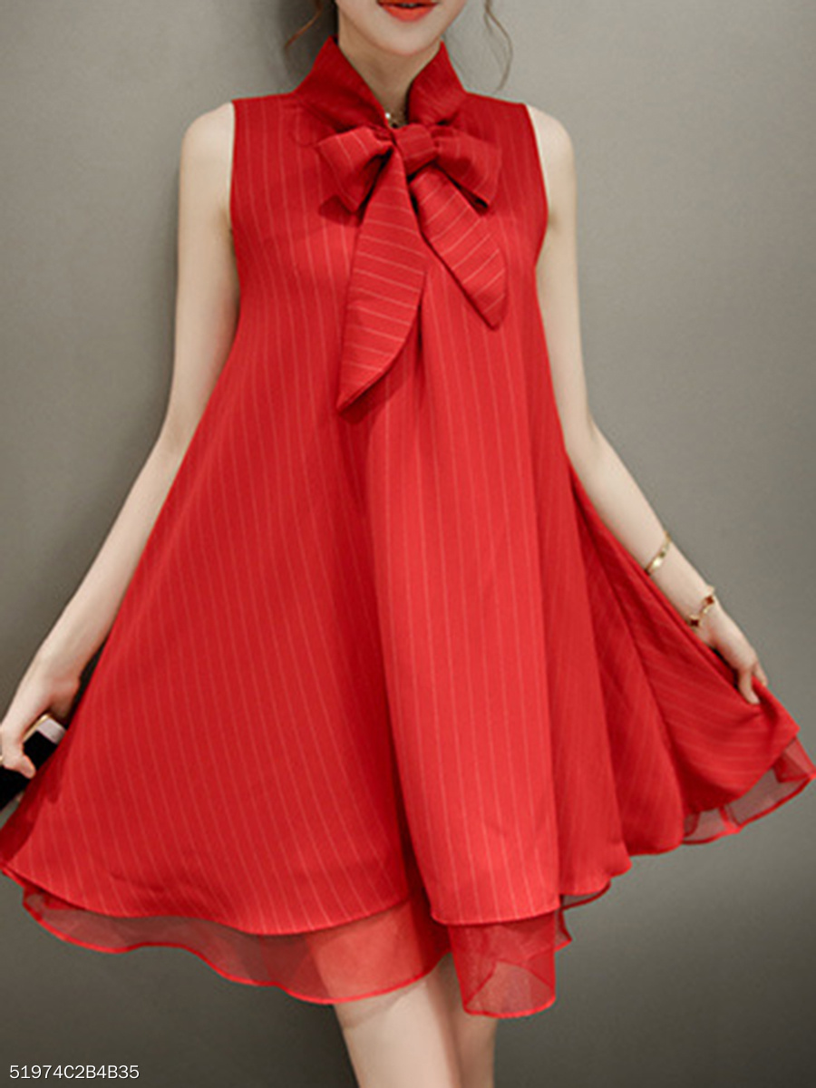 Summer Tie Collar Striped Mini Shift Dress