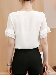 Summer  Polyester  Women  Surplice  Plain  Bell Sleeve  Short Sleeve Blouses