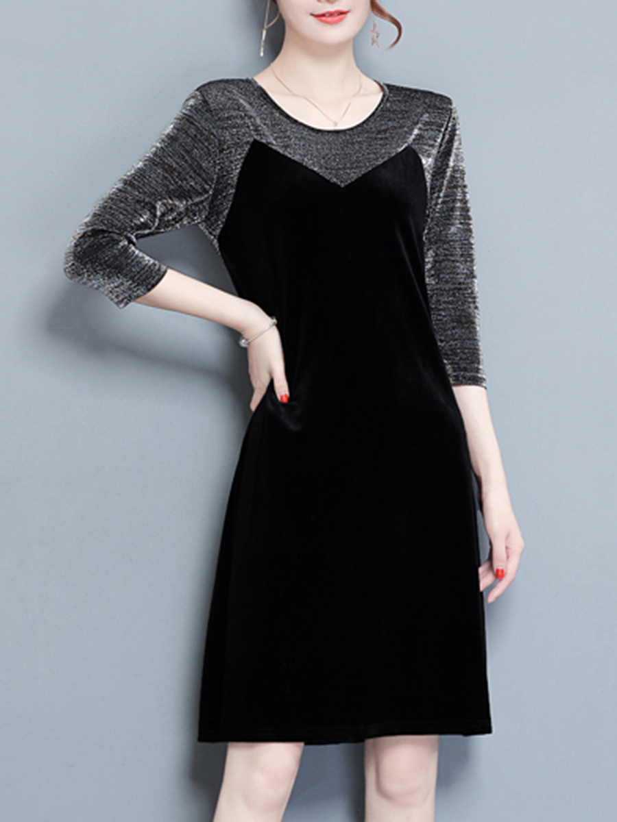 Round Neck  Patchwork  Velvet Shift Dress
