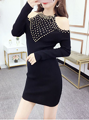 Crew Neck  Beading  Plain   Shoulder Out  Bodycon Dress
