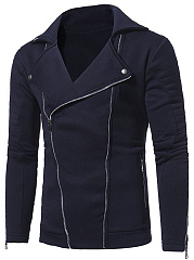 Lapel Plain Zips Pocket Men Coat
