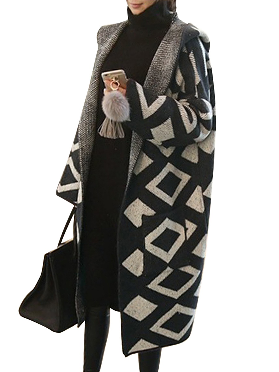 Hooded  Geometric  Raglan Sleeve  Long Sleeve Coats