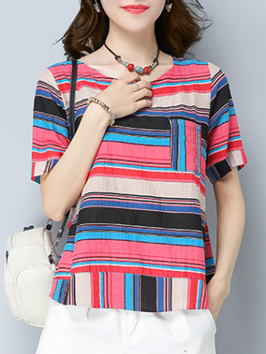 Round Neck Multi-Color Striped Short Sleeve T-Shirt