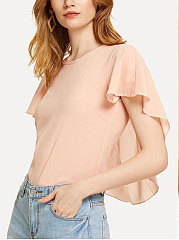 Summer  Chiffon  Women  Round Neck  Plain  Bell Sleeve  Short Sleeve Blouses