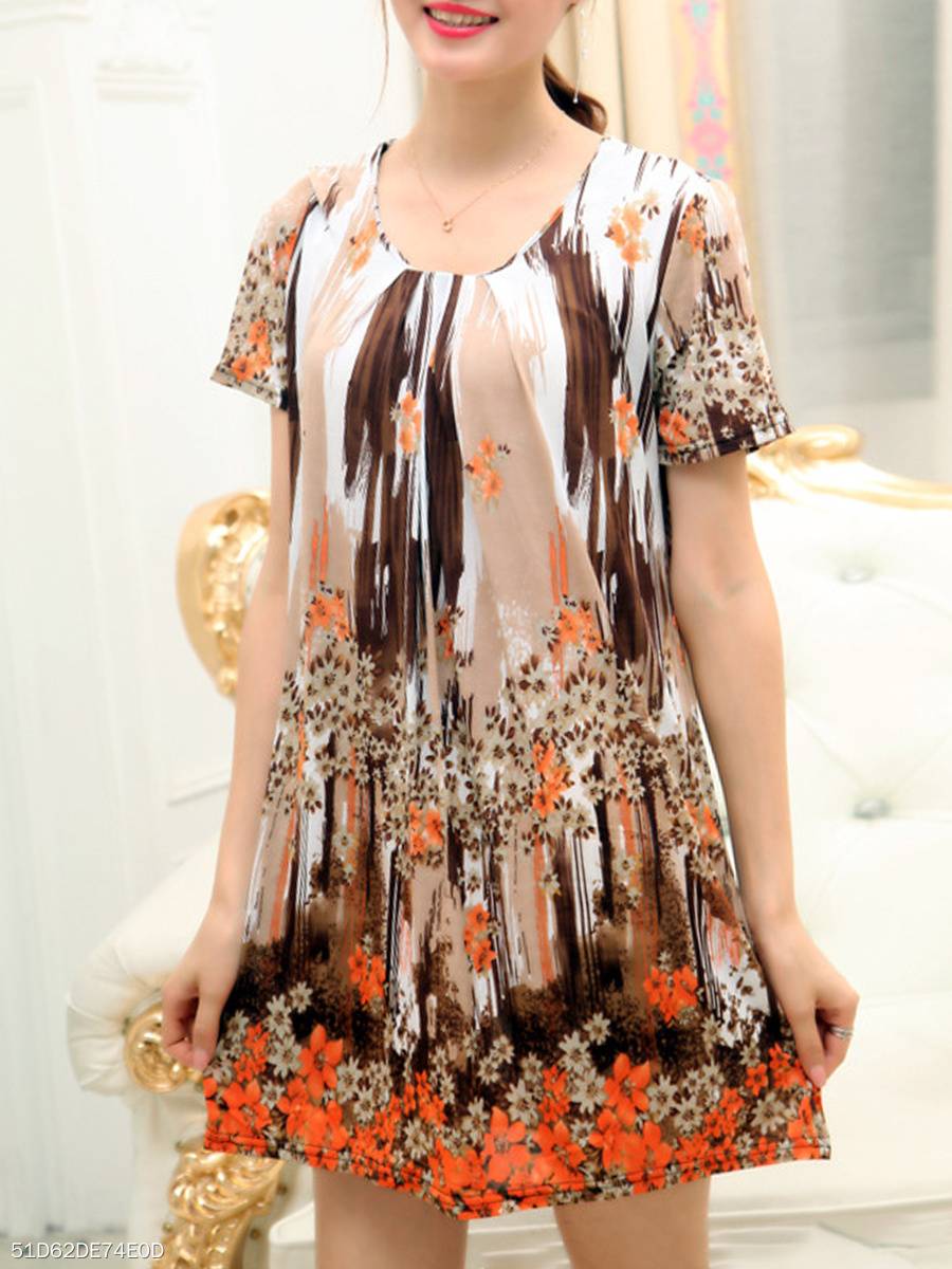 Floral Round Neck   Printed Shift Dress