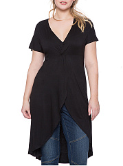 V-Neck  Plain  Batwing Sleeve  Short Sleeve Plus Size T-Shirts