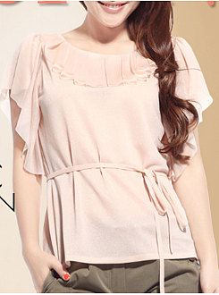 Spring Summer  Polyester  Women  Round Neck  Flounce  Belt  Plain  Petal Sleeve Short Sleeve T-Shirts