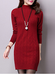 High Neck Plain Vertical Striped Knitted Mini Bodycon Dress