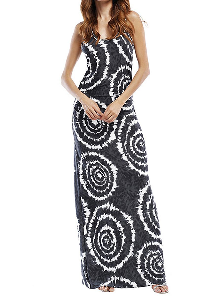 Round Neck  Printed Maxi Dress