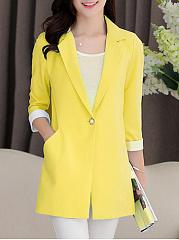 Fold-Over-Collar-Plain-Roll-Up-Sleeve-Long-Sleeve-Blazers