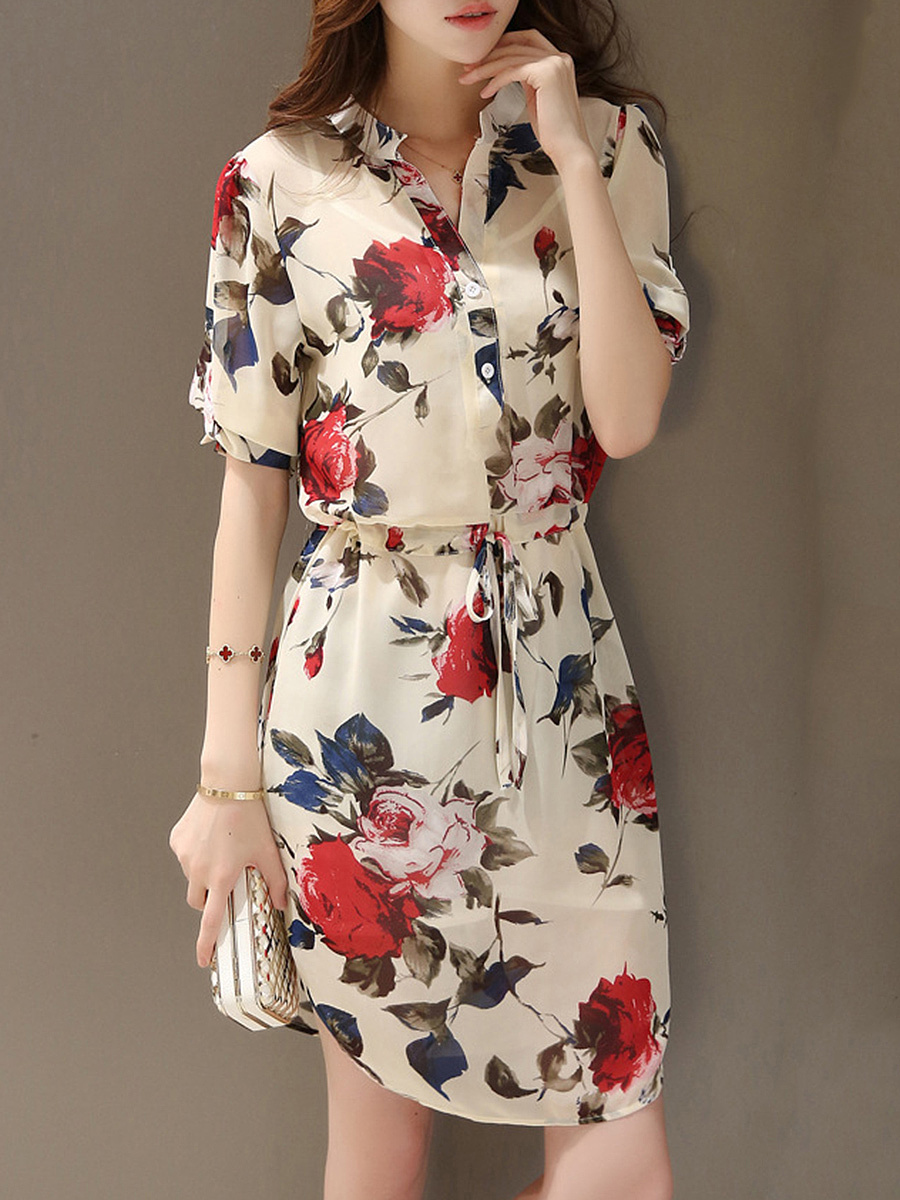 Split Neck Drawstring Curved Hem Floral Printed Bodycon Dress