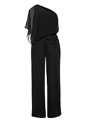One-Shoulder-Elastic-Waist-Plain-Wide-Leg-Jumpsuit