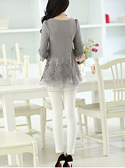 Round Neck  Decorative Lace Patchwork  Plain  Long Sleeve Blouses