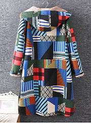 Hooded  Geometric Coat