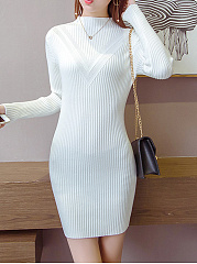 High Neck Plain Knitted Mini Bodycon Dress