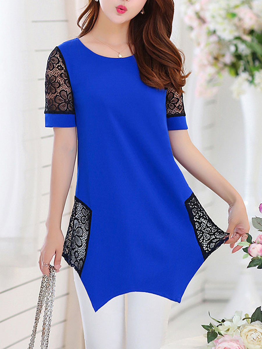 Round Neck Asymmetric Hem Hollow Out Blouse