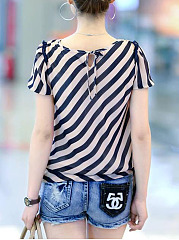 Striped Chiffon Round Neck Blouse