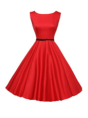 Solid-Color Boat Neck Belt Skater Dress