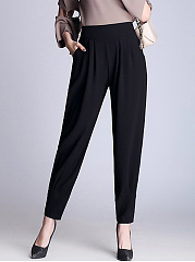 Black-Elastic-Waist-Pocket-Chiffon-Casual-Pegged-Pants