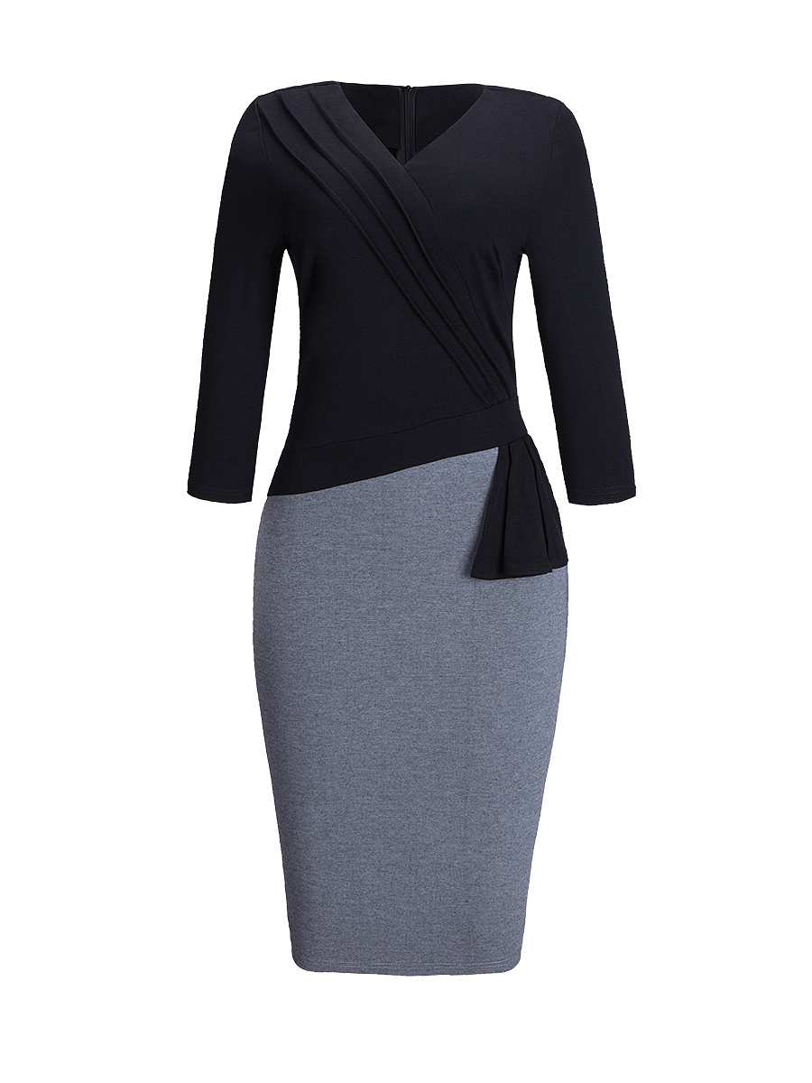 V Neck Pleated Color Block Bodycon Dress