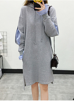 Hooded  Bell Sleeve Shift Dress