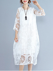 Round Neck Hollow Out Plain Lace Sack Maxi Dress