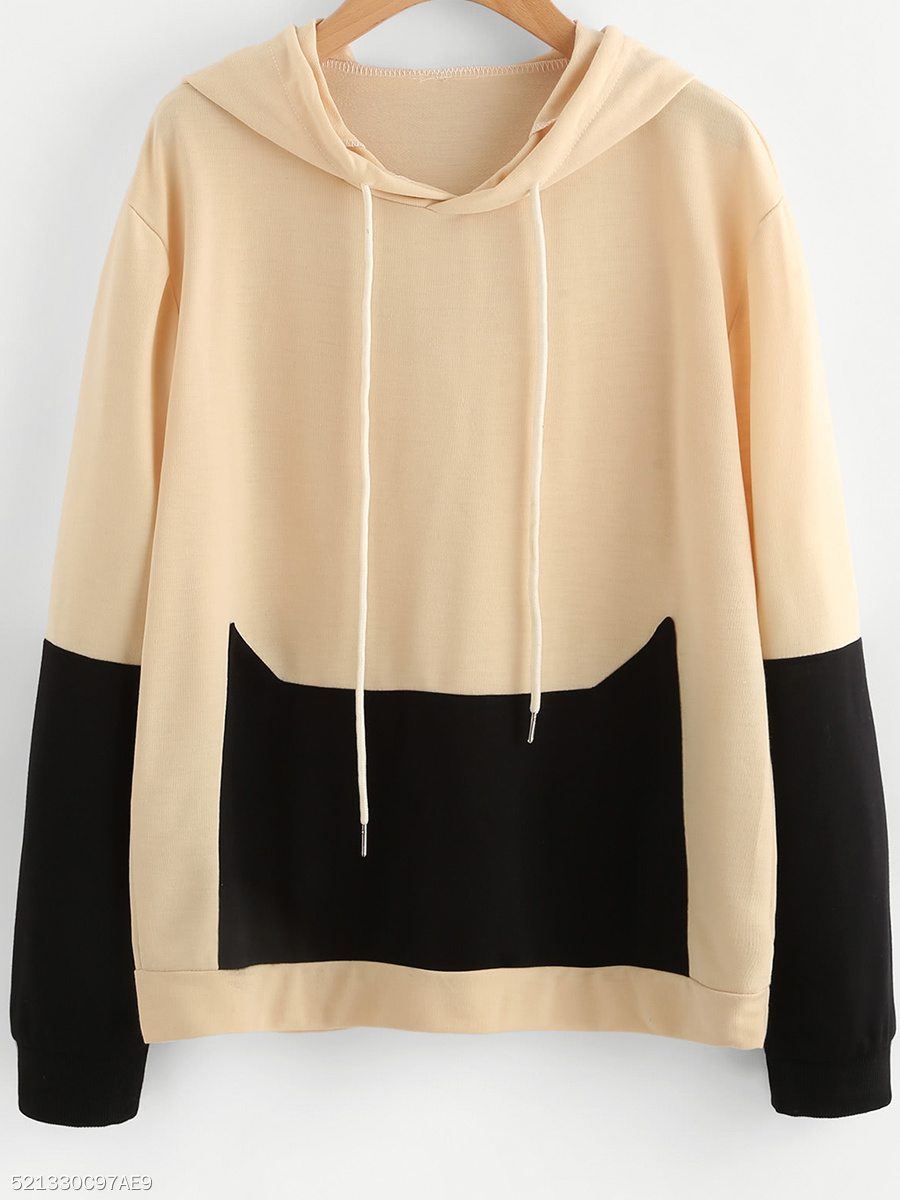 Loose Color Block Hoodie