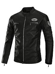 Band-Collar-Badge-PU-Leather-Men-Biker-Jacket