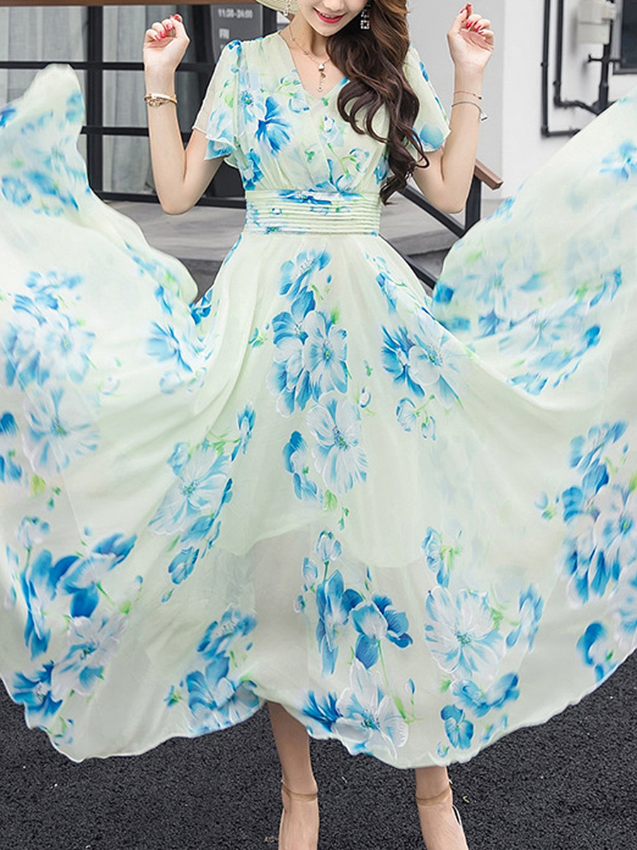 V-Neck  Floral  Chiffon Ruffle Sleeve Maxi Dress