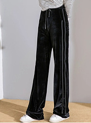Casual Velvet Elastic Waist Pocket Wide-Leg Pants