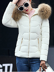 Hooded Pocket Zips Quilted Coat
