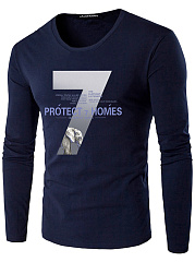 Men-Number-Letters-Printed-Round-Neck-T-Shirt