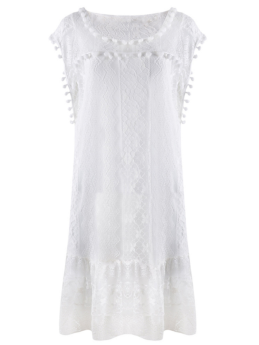 Round Neck  Plain  Lace Pompom-Trim Shift Dress
