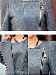 Veste De Laine Flap Pocket Zips Plain