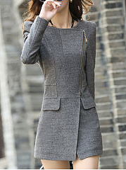 Fold-Over-Collar-Flap-Pocket-Zips-Plain-Jacket